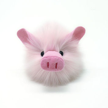 Stuffed Animal Cute Plush Toy Kawaii Plushie Pink Pig Fuzziggle Medium Size 5x8 inches