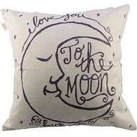 """Generic I Love You to the Moon and Back Cotton Throw Pillow Case Vintage Cushion Cover, 18 """" x 18 """""""