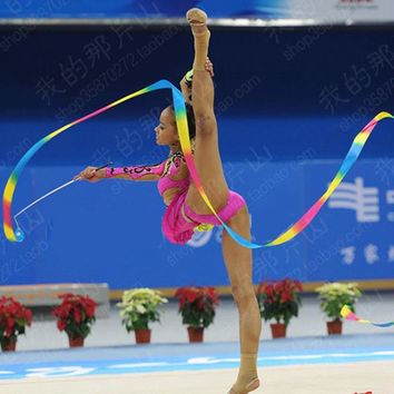 Hot Dance Colorful Ribbon Gym Rhythmic Gymnastic Art Ballet Streamer Twirling Rod Outdoor Games Adult Toys For Children