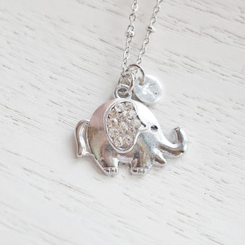 Lucky Elephant Necklace,Puffy Elephant Jewelry,Personalized Cute Elephant Necklace,Initial Elephant,Good Luck Animal Necklace,Bridesmaid