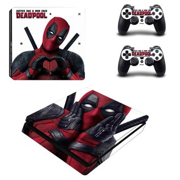 Comics Deadpool Style Skin Sticker Cover For Playstation 4 Slim PS4 Slim Console Stickers and Decals Of 2 Controllers