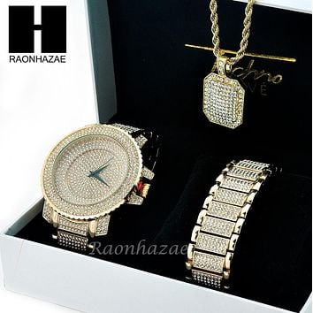 TECHNO PAVE ICED OUT 14K GOLD TONE LAB DIAMOND WATCH BRACELET NECKLACE SET SW201