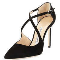 Manolo Blahnik Umice Suede Crisscross Point-Toe Pump, Black