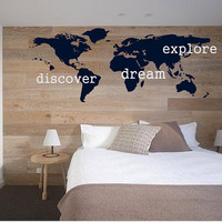 Explore, Dream, Discover the WORLD - vinyl wall art  decals sticker graphic by 3rdaveshore