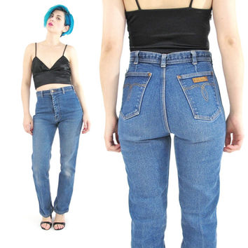 1970s High Waist Jeans Straight Leg Jeans Slim Leg Jeans Vintage French Jeans Medium Wash Denim Mom Jeans 5 Pockets Worn In Jeans (XS/S)