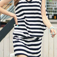 Striped V-Neck Sleeveless Summer Dress