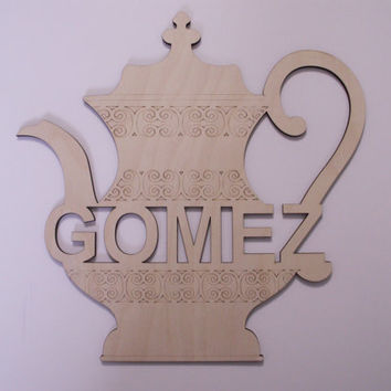 Personalized Teapot  Wood Shape, Laser Cut, Ready to Paint Woodcraft,  Kitchen Wall Decor, Door Hanger, Wreath Decor, DIY Home Decor