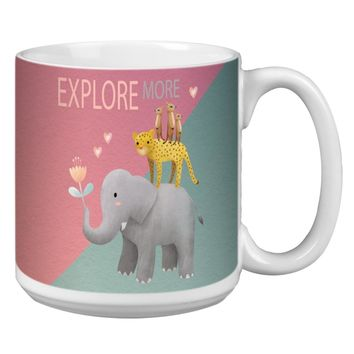 Elephant and Friends Jumbo Mug - Premium 20 oz Ceramic Coffee Tea  & Soup Mug