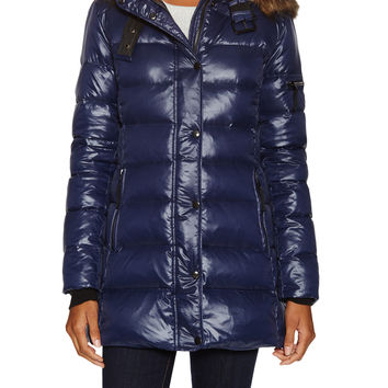 Firth Women's Mulberry Hooded Puffer Coat - Dark Blue/Navy -