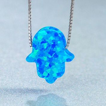 ONETOW Agate Blue silver blue palm-shaped palm-shaped generation of opal pendant necklace