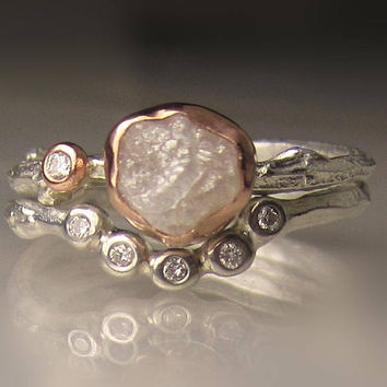 Rough Diamond Engagement Ring, White Raw Diamond Twig Ring, Engagement Set, Sterling Silver and 14k Rose Gold