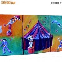 Summer Sale. Series of three original oil paintings for kids room. Nursery wall art. Circus art in orange and green, purple and red. One of a kind.