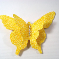 Butterfly Hair Clip, Yellow Butterfly Hair Clip