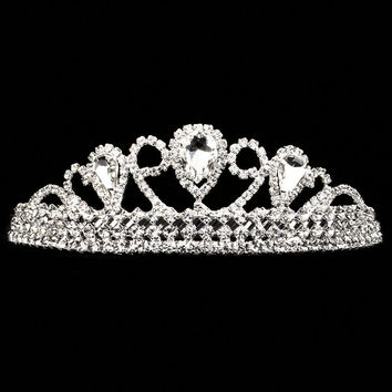 Silver and Crystal Rhinestone Tiara Hair Accessory