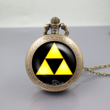 Zelda Hyrule Crest Pocket Watch Locket Necklace,legend of Zelda Triforce Inspired,vintage pendant Pocket Watch Locket Necklace
