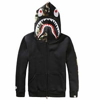 Bape Aape Shark Hoodies Men's plus velvet sweater Men's and women's lovers hooded jacket Black