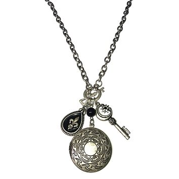 Apparel Addiction Photo Locket Vintage Silver Charm Necklace