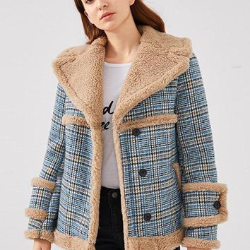 Faux Fur Plaid Moto Jacket