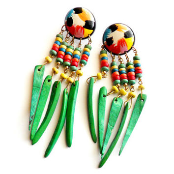 Vintage Beaded Wood Pierced Earrings - Tropical Summer Style - Wooden Dangle - Green Rainbow Painted - Island Vacation - Festival Gear