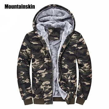 Mountainskin Winter Camouflage Hoodies Men Tracksuit Thick Army Spring Coats Men's Sweatshirts Fleece Male Hoodies 4XL EDA160