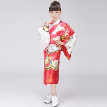 Birthday party show stage young girl baby young child Japanese dress tradition and costume sleepwear bathrobe