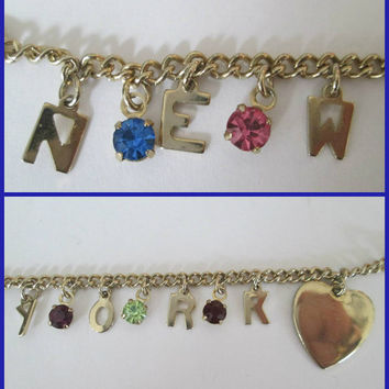 Vintage New York Heart Charm Bracelet Colorful Pronged Rhinesones Small Wrist