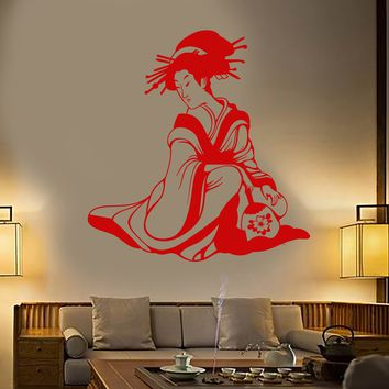 Vinyl Wall Decal Japanese Woman Geisha With Fan Asian Style Stickers Unique Gift (1737ig)