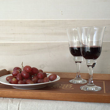 Wooden Tray with Handles, Wooden Tray for Craft, Wooden Okinawa Tray, Wooden Tray with Japanese Writing