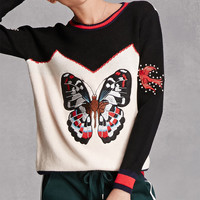 Cherry Paris Butterfly Sweater