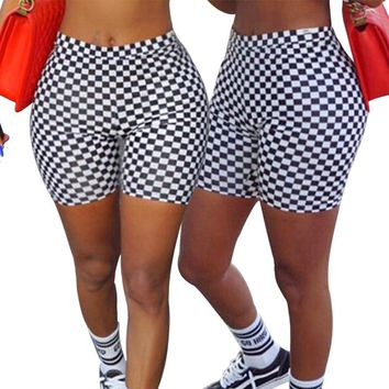 Yoga Shorts High Waisted Checkerboard Checkered Sport Shorts Yoga Short Pants Black White Plaid for Women 2018 New