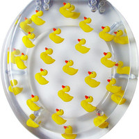UNIQUE DESIGNER LUCITE TOILET SEAT - RUBBER DUCKY