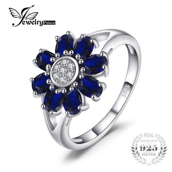 JewelryPalace 1.8ct Oval Created Sapphire Flower Ring 925 Sterling Silver Fien Jewelry Wedding Rings For Women Gift 2017 Fashion
