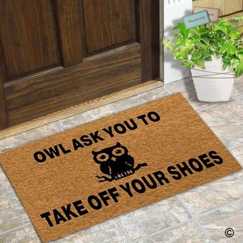 Autumn Fall welcome door mat doormat  Entrance Floor Mat Funny  Owl Ask You To Take Off Your Shoes Designed Non-slip  AT_76_7