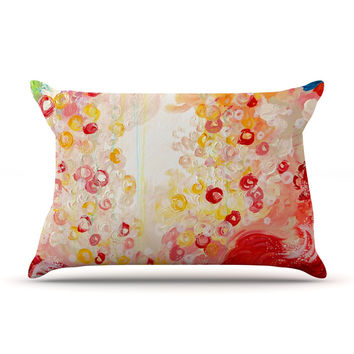 "Ebi Emporium ""Summer Days"" Red Tan Pillow Case"