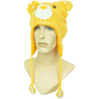 The Care Bears Knit Yellow Funshine Bear Laplander Beanie Hat Tassle Peruvian