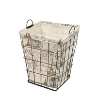 "Multi-Purpose Tall Square Iron Basket with ""Paris"" and Eiffel Tower Print Liner Travel Europe"