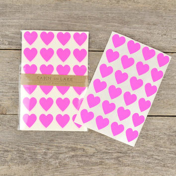 Little Hot Pink Heart Stickers / Heart Favors / Neon Pink - 96 pc
