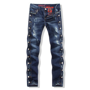 Rinsed Denim Cats Slim Denim Pants Men Ripped Holes Jeans [6541748163]
