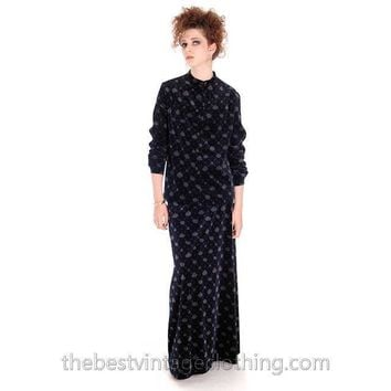 Stunning Vintage Marimekko Dress Suit Blue/Gray Velvet Print 1976 38/10