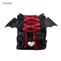 Gothic Angel Devil Wing Backpack for Women Cute Cartoon Waterproof Nylon Shoulder School Bag Vampire Retro Lolita Back Pack Bags