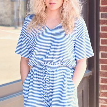 Blue Set Sail Striped Romper