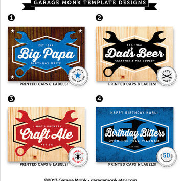 Custom Fathers Day Beer Labels, Caps, Carriers
