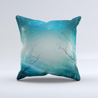Electric Teal Volts ink-Fuzed Decorative Throw Pillow