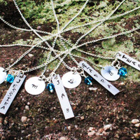 Bridesmaid Jewelry - Set of 4 - Bridal Party Personalized Necklace - Custom Name Bridesmaid Necklace