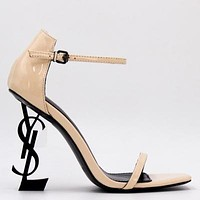 YSL Yves Saint Laurent Fashion Women Sexy Letter High Heels Shoes Sandals 14#