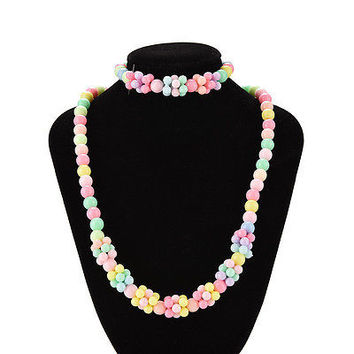 Cute Baby Toddlers Necklace&Bracelet Set Children Gift Girls Party Jewelry HU