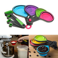 Safe Healthy Silicone Measuring Cup Spoon Kitchen Tool Collapsible Baking Cook