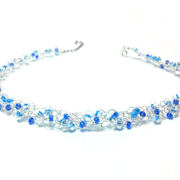 FREE SHIPPING Wire crochet necklace with glass beads: Elegant blue