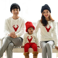 2016 Cotton T-shirt Christmas Deer mother Mommy and Me Daughter Father Baby Clothes Matching Family Clothing Sets Family Look