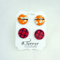 Ankara Wax Print Earring Set -  African fabric Earrings  - post back earring - stud earring - orange & red